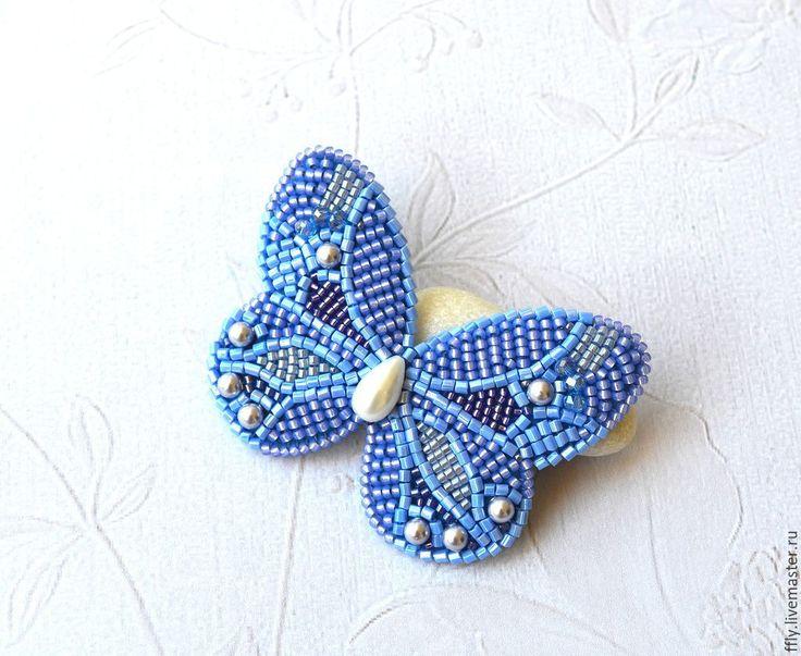 """Купить Брошь-бабочка вышитая бисером """"Сирень"""" - сиреневый, бабочка, бабочки, бабочка брошь"""