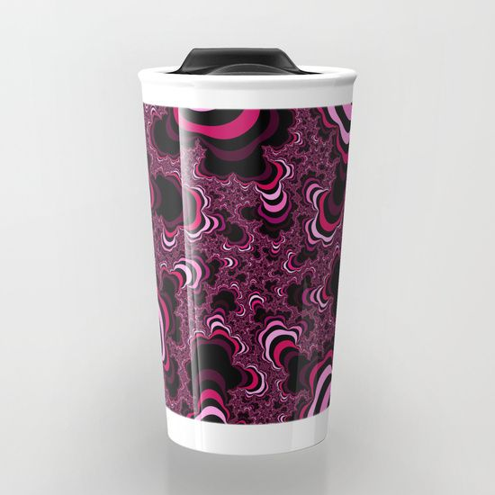 Pink abstract pattern. Striped pattern. Travel Mug