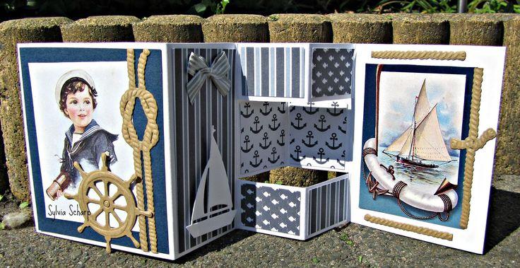 Maritiem kaartje met   mallen van Marianne Design.   Plaatje is een eigen knipvel   van Hobby Voordelig.           Dit kaartje is o...