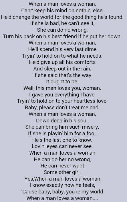 Percy Sledge . When a Man Loves a Woman