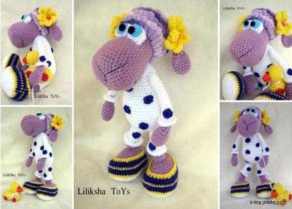 Linda oveja preparada para ir a dormir con su precioso y llamativo pijama. Descargar patrón amigurumi de la oveja en pijama