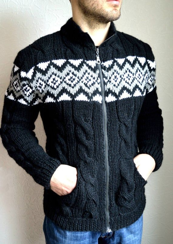 Hand knitted angora wool men's cardigan in 2020   Mens