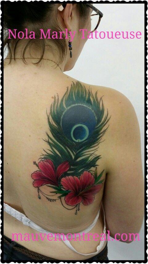 plume de paon hibiscus tattoo tattoos tatouages. Black Bedroom Furniture Sets. Home Design Ideas
