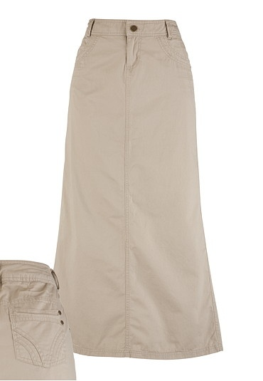 The perfect khakhi skirt- Long Scoop Pocket Khaki Skirt - Regular Length