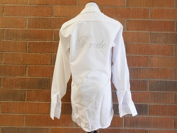 Oversized Men's Button Down Bride and Bridesmaids Shirt - Rhinestone Button Down for Wedding Day. Maid of Honor, Bridesmaid.
