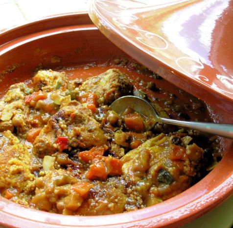 This is one of my familys favourite recipes; I am constantly asked all the time to make it. I was taught it by a Moroccan friend who also lives in France - it is an old family recipe passed down for many years. It is great all year around - served with flat breads or pitta breads And assorted salads in spring And summer or served with hot fluffy And fruity couscous, assorted chutneys or pickles in the depths of winter. I make mine in a fantastic Electric Tagine made by Tefal; it of course…