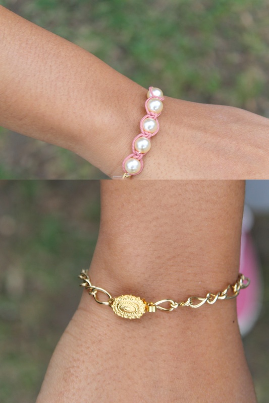 Small Gold Pearls 1 by: MICHELLESPRACKMAN.  $12.00 (CAD)  - Hand made in Toronto, Canada  - Faux pearls braided   - Vintage clasps  - All gold plated metal components  - Click image to enlarge  FREE INTERNATIONAL SHIPPING WITH PURCHASE