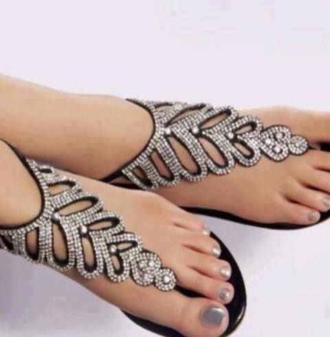 Diamond accented sandals. Exquisite!!! Don't forget to do that hair though!!! www.krownofglory.com