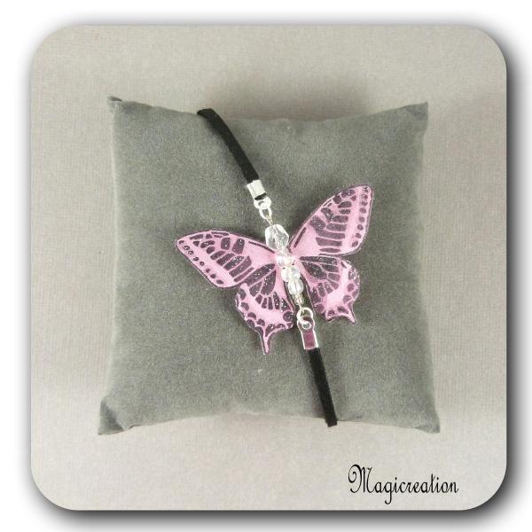 BRACELET PAPILLON SOIE ROSE - ARGENTE - Boutique www.magicreation.fr