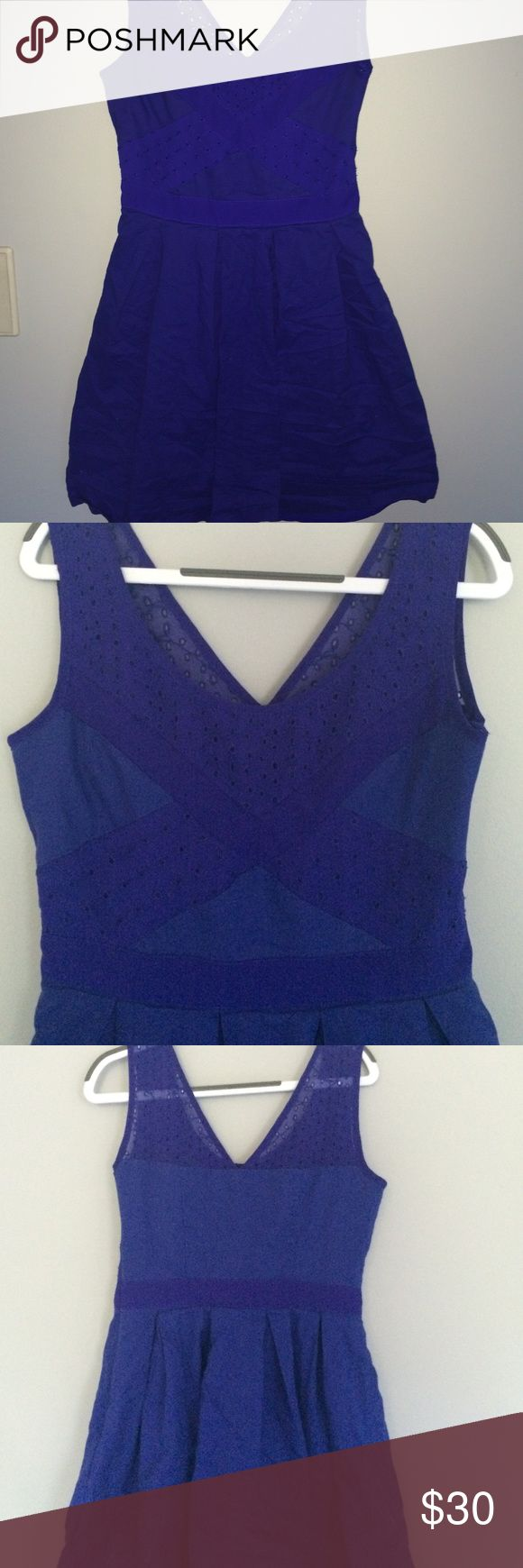 AEO Indigo Eyelet Dress Gorgeous indigo American Eagle dress! Selling because it's too small for me. Beautiful eyelet design at top of dress in front and back. Zipper on side. Two layers of skirt. Only worn a few times, in perfect condition. American Eagle Outfitters Dresses