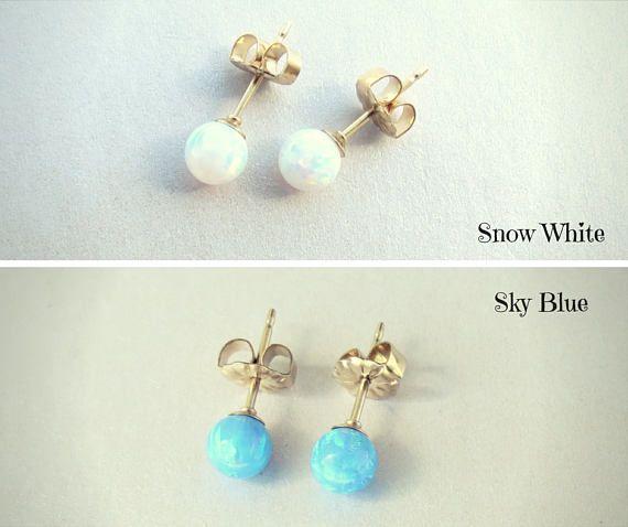 Opal Earrings, Gold Filled Opal Studs, Sterling #jewelry #earrings @EtsyMktgTool http://etsy.me/2wGkQu9