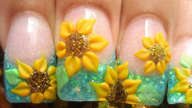 3d acrylic nail designs | Acrylic Nails Tutorial - Copper tips with white 3D flower - VideoNail ...