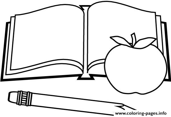Book Apple Pen Back To School Coloring Pages Printable We All Go To School We All Study At School We All Love Our School School Is Where We Learn Where We