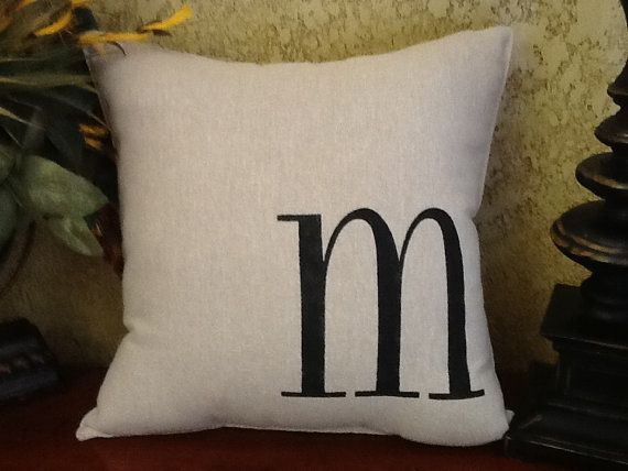 initial letter stenciled pillow