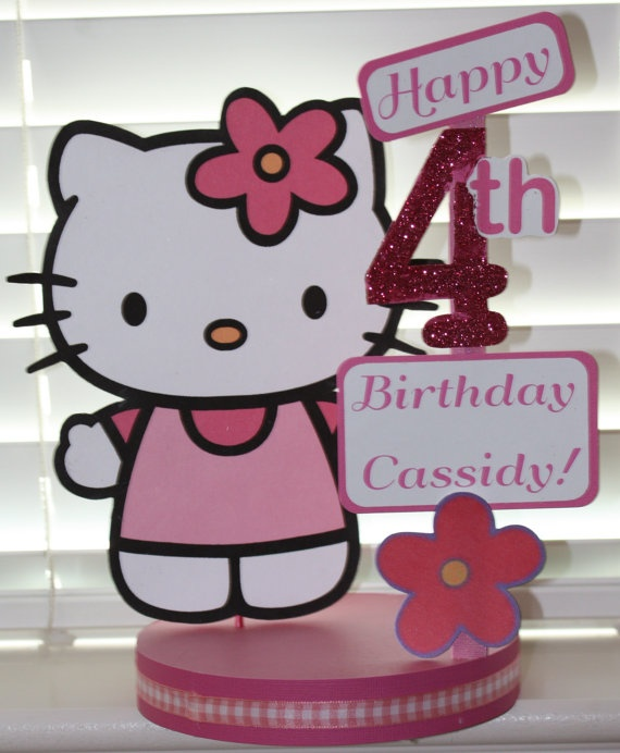 Hello Kitty Birthday Party Custom Centerpiece. $18.00, via Etsy.
