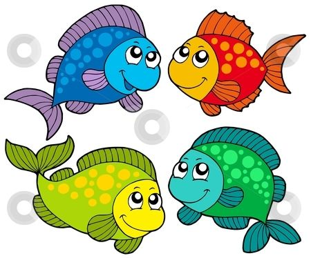 Free Cute Clip Art | Cute cartoon fishes collection stock vector clipart, Cute cartoon ...