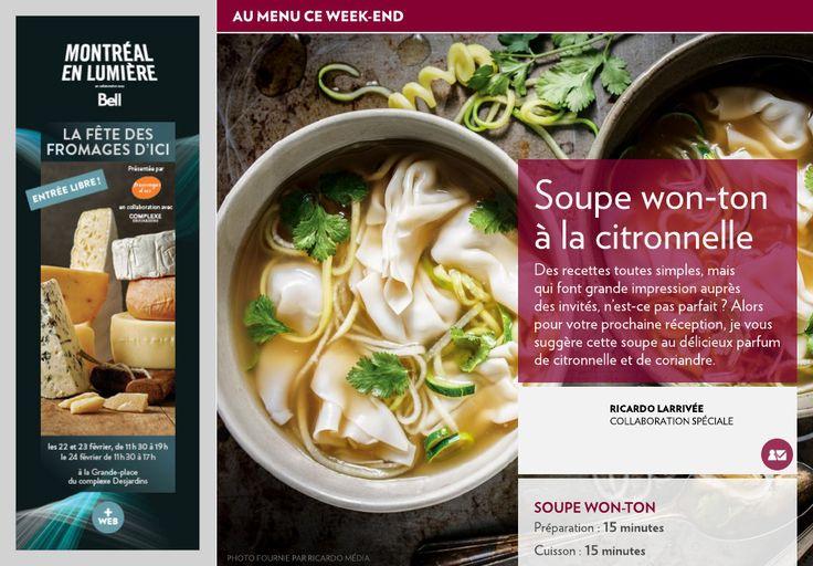 Soupe won-ton à la citronnelle - La Presse+