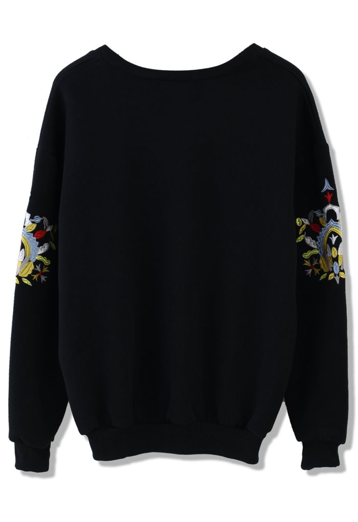 Black Sweater with Embroidered Sleeves - New Arrivals - Retro, Indie and Unique Fashion