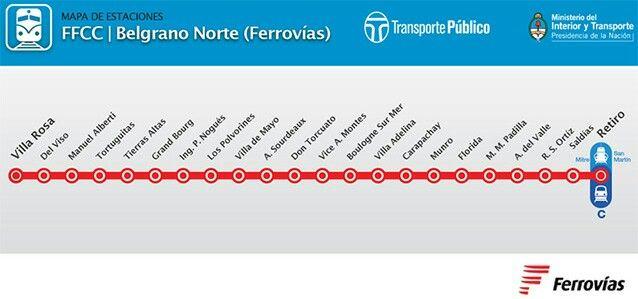 Mapa general Ferrocarril Belgrano Norte