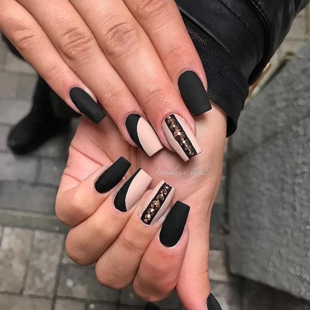 Black Nails Art Designs For 2020 Spring In 2020 Matte Black Nails Black Nails Black Nail Art