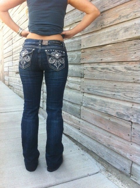 Cowgirl Clad Company - Fleur Di Lis Bling with Bold Stitching Jeans, $65.00…