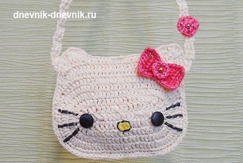 """Сумка """"Hello Kitty"""" вязанная крючком."""