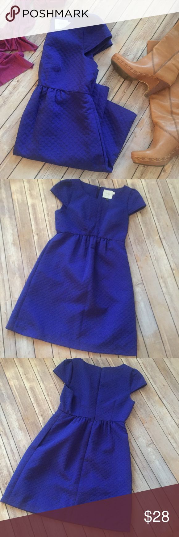 """HD ANTHROPOLOGY dress Pretty bright blue-purple dress with empire waist and pockets!! Cute capped sleeves and quilted pattern. 34"""" long, 15.5"""" waist across. 70% polyester, 30% cotton. Fully-lined. Machine washable. HD in Paris Dresses Midi"""