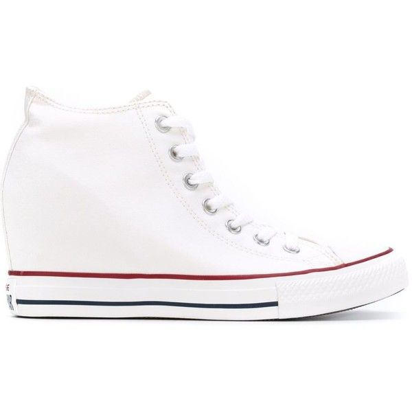 Converse 'Chuck Taylor All Star Lux' wedge sneakers (6,770 INR) ❤ liked on Polyvore featuring shoes, sneakers, white, wedge sneakers, white trainers, converse trainers, wedge trainers and white shoes