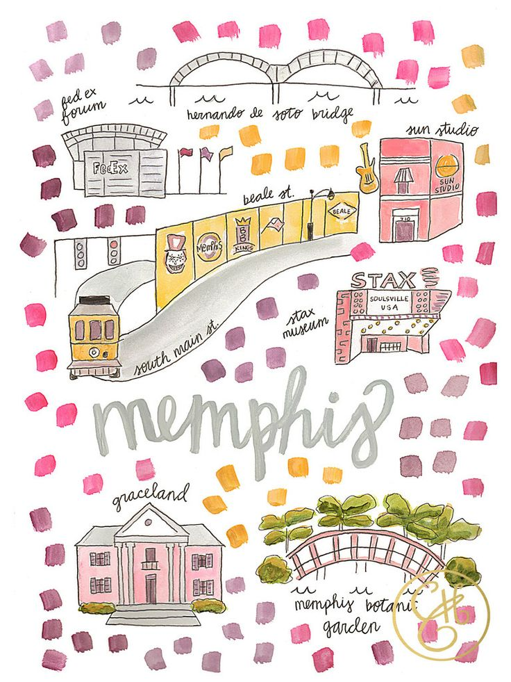 Memphis Map Print – Evelyn Henson www.evelynhenson.com                                                                                                                                                                                 More
