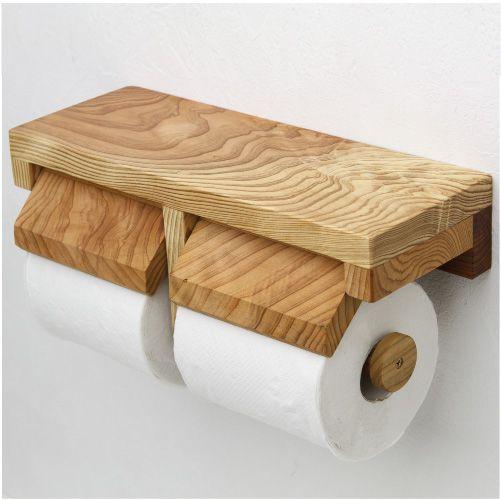 木製の棚付き2蓮トイレットペーパーホルダー 「蒼 TN-S-SD-DT」。ダブルのペーパーホルダー通販販売専門店「トイレットペーパーホルダー.com」