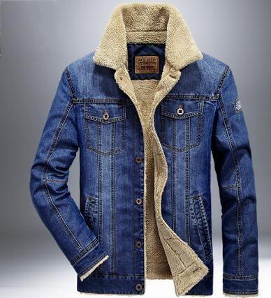 M-4XL men Denim jacket Fashion mens jeans jacket thick warm winter CowBoy