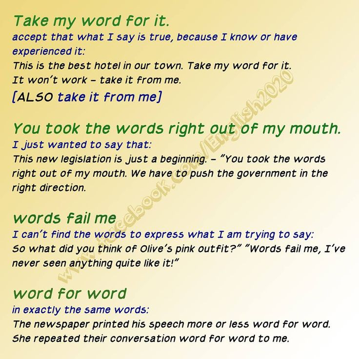 Some Idioms With 'Word/Words'.