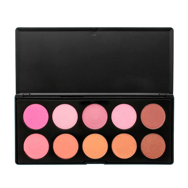 The Crownbrush 10 matte and shimmer blush palette can be used as contour, bronze and blush in colours from light pink to deep dark pink as well as a couple of neutral shades perfect for adding depth and giving a polished finish to any make-up look.  This palette is presented in a matte black case ideal for travelling and easy storage and cleaning.
