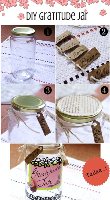 DIY Gratitude Jar.. Store your blessings in a jar and notice how your life turns around :)