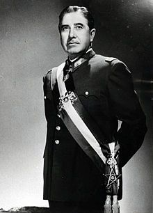 """September 11, 1973: with the aid of a US backed coup.... Human massacre. Pregnant women thrown from airplane to avenge the death of his soldiers. """" Kill the bitch, kill the offspring"""". 9/11 seems to be a popular day for massacre. Augusto Pinochet foto oficial.jpg"""