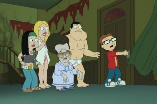 "The Smith Family (with Roger as medium Ruby Zeldastein) in ""Poltergasm"", a spoof on Poltergeist. American Dad season 9, episode 2 (2013)"