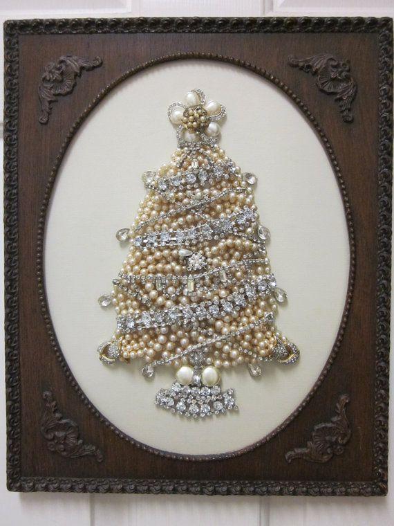 Vintage Jewelry Framed Christmas Tree Art Pearls Rhinestones