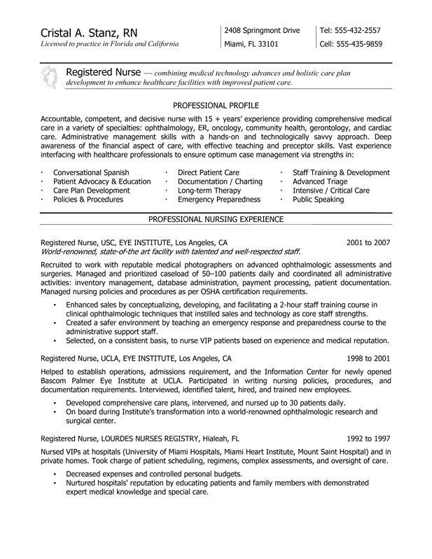 School Nurse Resume Examples - Resume Sample