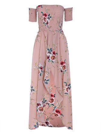 Só R$84.77 , compra Mulheres Sexy Off Off Shoulder Floral Print Frente Split Beach Maxi Dresses na Banggood.com. Comprar moda Vestidos sexy online.