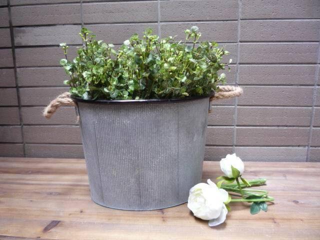 vintage style flowers garden galvanised bucket metal planter with rope handles
