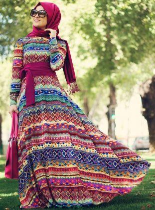 Etnik Elbise - Karışık Desenli - Minel Aşk