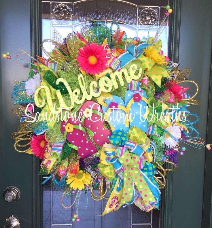 Welcome Wreath, Welcome Summer Wreath, Summer Wreath, Summer Flip Flop Wreath, Flip Flop Wreath, Deco mesh summer wreath, summer home decor by SandstoneCustmWreath on Etsy https://www.etsy.com/listing/491166518/welcome-wreath-welcome-summer-wreath