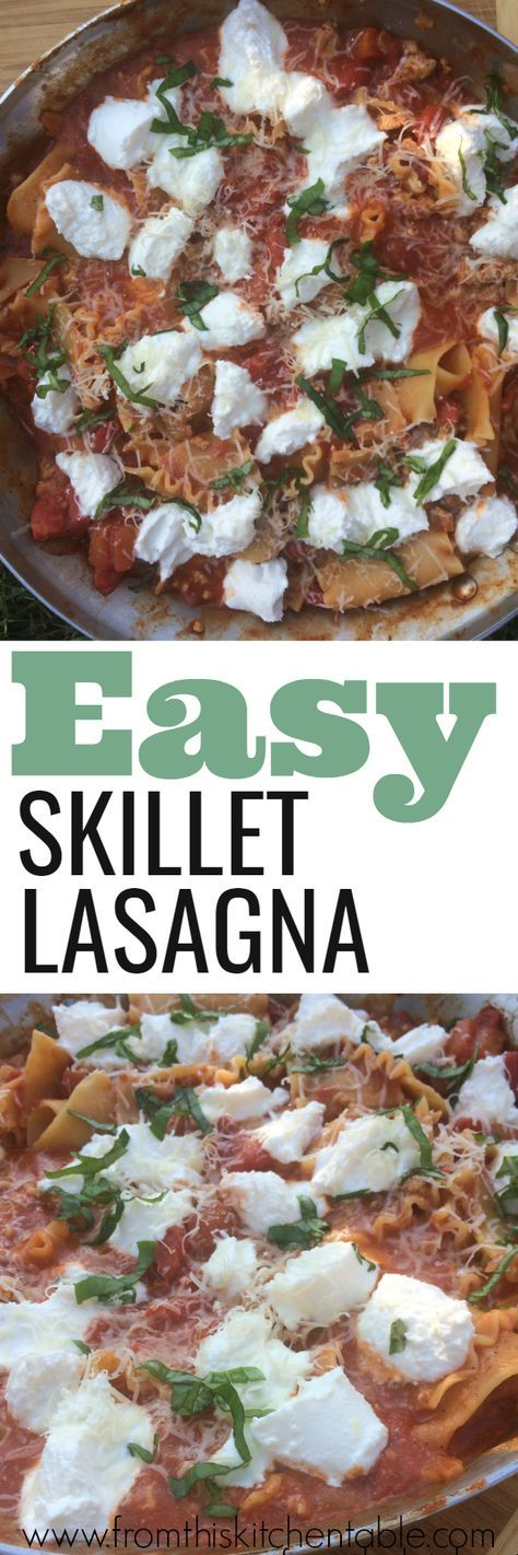 Easy skillet lasagna. Only uses one pan and tastes amazing.