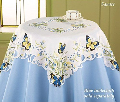 Blue Yellow Embroidered Butterfly Flowers Table Square