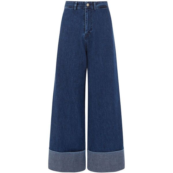 Sea NY Dark Blue Denim Cuffed Jeans ($385) ❤ liked on Polyvore featuring jeans, wide cuff jeans, high rise jeans, wide-leg jeans, high waisted denim jeans and dark-wash jeans