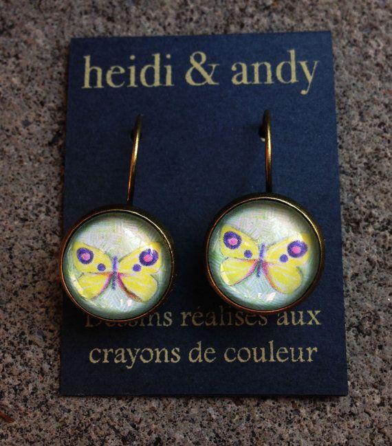 Hand Drawn Brass Earring by HeidietAndyShop on Etsy, $18.00  #etsy #etsyshop #jewelry #handmade #butterfly