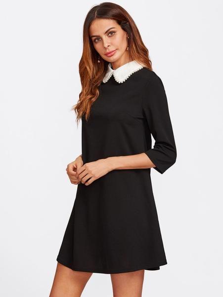 fa6b1e72006c Plain Black Pearl Beaded Contrast Collar 3/4 Sleeve Keyhole Back Mini Dress
