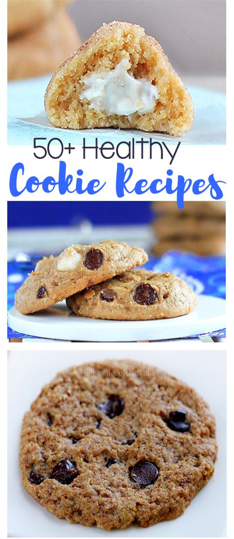 50+ healthy cookies... Including recipes for chocolate chip, peanut butter, oatmeal raisin, etc. Recipes from @choccoveredkt – The only cookie recipes you'll ever need! http://chocolatecoveredkatie.com/chocolate-covered-recipes/healthy-cookies-and-bars/