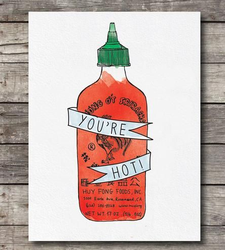 You're Hot Sriracha Card Set   INACTIVE Cards & Stationery   Anna Sudit   Scoutmob Shoppe   Product Detail