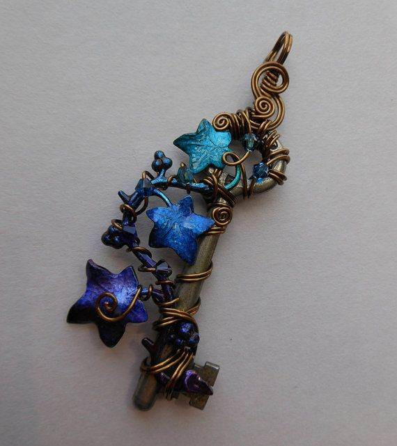Ivy Vine Key Pendant -- Wire Wrapped Key with Purple, Blue, Turquoise Ivy Leaves, Swarovski Crystals, Antique Brass Wire